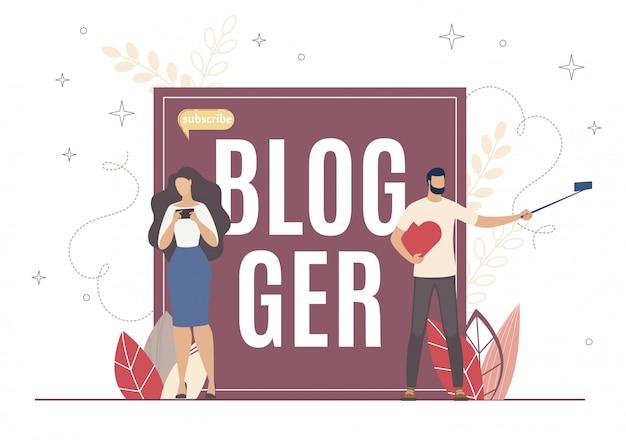 Populariteit op internetblogger, abonneren en opnemen.