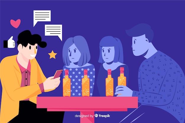 Populariteit op sociale media doden vriendschappen concept