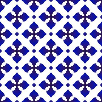 Porselein patroon keramiek naadloos decor blauw en wit modern achtergrondontwerp