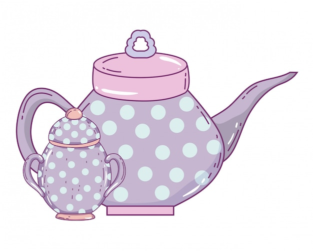 Porseleinen koffiepot en suikerpot