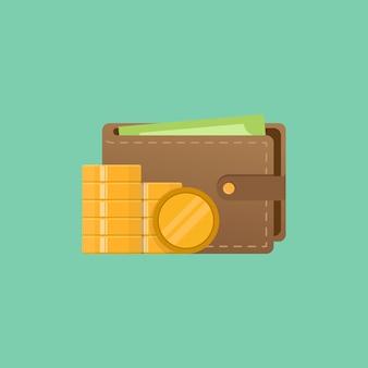 Portefeuille en geld vectorillustratie