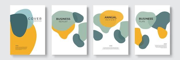 Portefeuille geometrisch ontwerp vector set. abstracte kleurrijke vloeibare grafische gradiëntcirkelvorm op de presentatie van het omslagboek. minimale brochurelay-out en modern rapportsjabloon voor zakelijke flyers