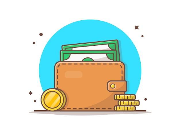 Portefeuille met geld en stapel gouden munten vectorillustratie pictogram