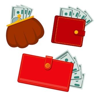 Portefeuille met geld, groene dollars. winst vector plat pictogrammen
