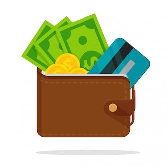 Portefeuille met heel wat dollargeld met gescheiden creditcards