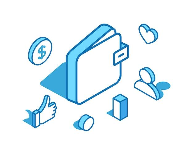 Portemonnee blauwe lijn isometrische illustratie geldbank beveiligde financiën 3d-bannersjabloon