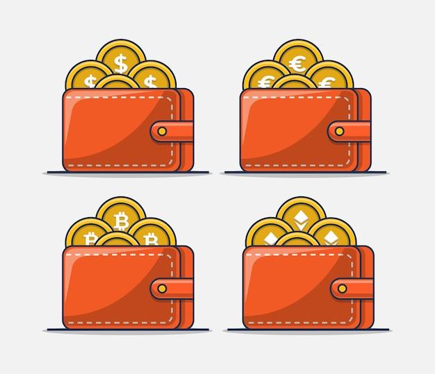 Portemonnee collectie set met gouden munten