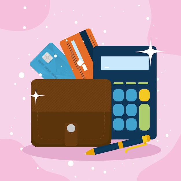 Portemonnee en rekenmachine met creditcards