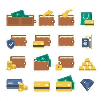 Portemonnee iconen ontwerp
