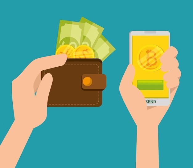 Portemonnee met munten en biljetten en mobiele telefoon met handen, bitcoin