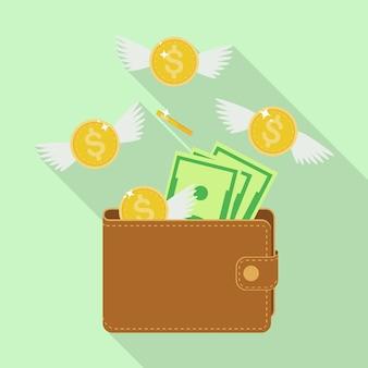 Portemonnee met vliegend geld. gouden munten met vleugels die uit vliegen. geld verliezen, te hoge uitgaven, faillissement