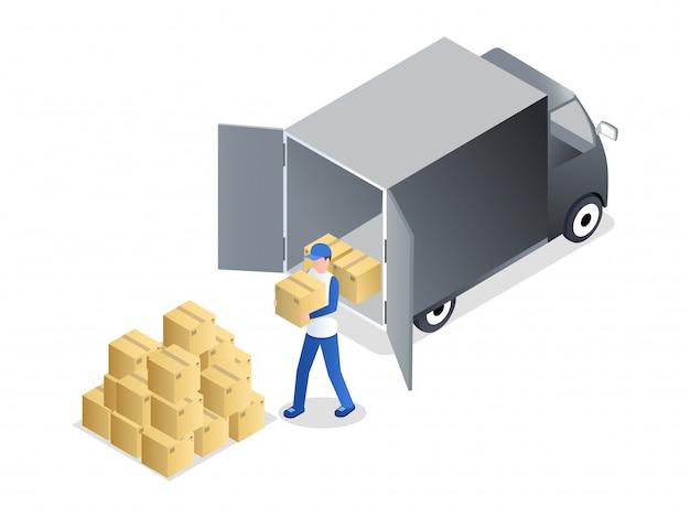 Porter lossen lading isometrische illustratie. bezorgservice medewerker in uniforme uitvoering stripfiguur kartonnen doos.