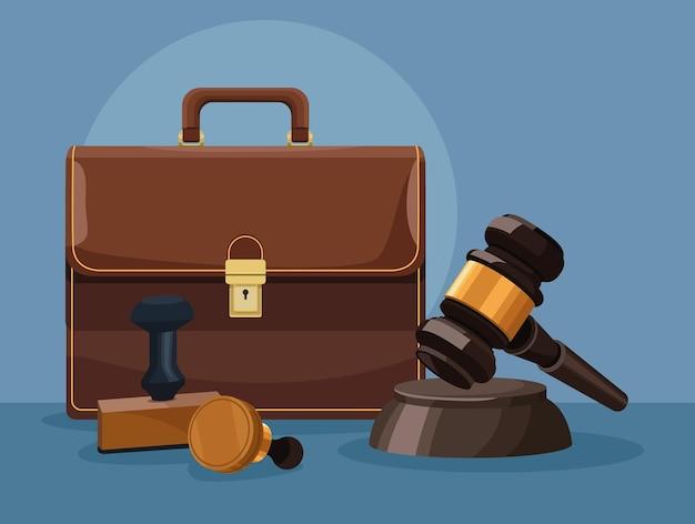 Portfolio en hamer rechter