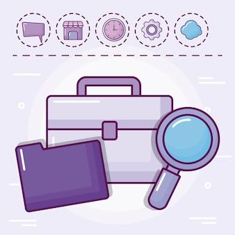 Portfolio met map- en setpictogrammen