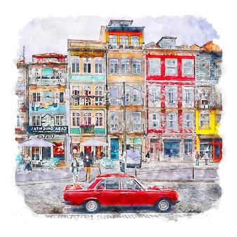 Porto portugal aquarel schets hand getekende illustratie