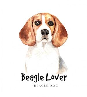 Portret beagle hond voor afdrukken