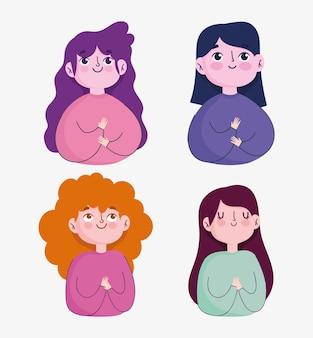 Portret cartoon vrouwen gelukkige karakters vrouwelijke pictogrammen