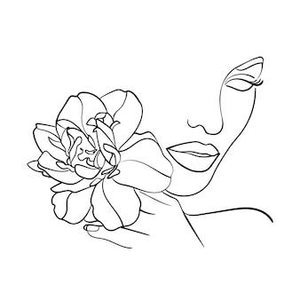 Portret, gezicht met bloem. eenvoudige, minimalistische vectorillustratie van mooie vrouw. lijntekening