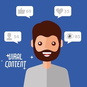 Portret man virale inhoud internet