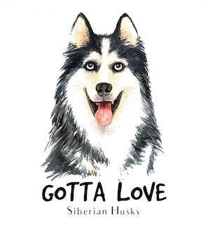 Portret siberische husky voor afdrukken