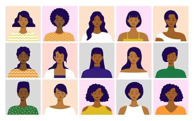 Portret van afro-amerikaanse vrouwen vooraanzicht