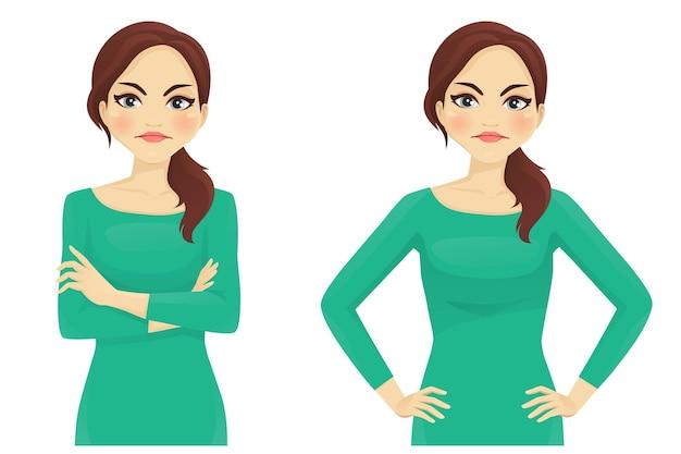 Portret van casual vrouw met boze gezichtsemotie geïsoleerde illustratie