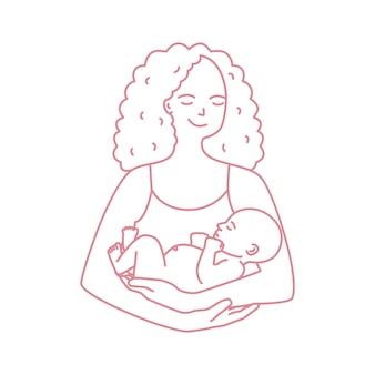 Portret van de glimlachende die baby van de moederholding met contourlijn wordt getrokken op witte achtergrond. vrolijke moeder met pasgeboren kind. gelukkig ouderschap, moederschap en verpleging. monochrome illustratie