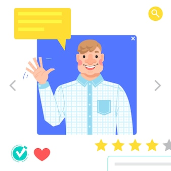 Portret van de mens - grafische avatars voor sociale netwerken of datingsite. de man zwaait met zijn hand als begroeting. illustratie