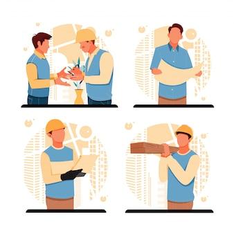 Portret van de situatie mannen werken buitenshuis. platte ontwerpconcept. illustratie