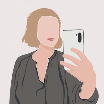 Portret van een abstract meisje in minimalistische stijl vrouw die selfie foto neemt met smartphone