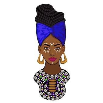 Portret van een afrikaanse prinses geïsoleerd op een witte achtergrond.