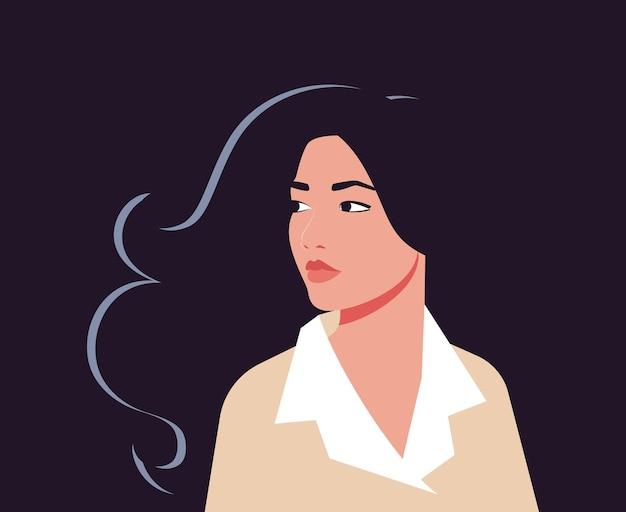 Portret van een aziatische vrouw in halve draai met fladderend haar
