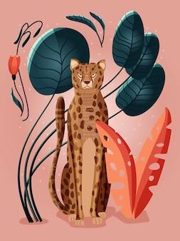 Portret van een cheetah op roze achtergrond omringd met kleurrijke planten, palmbladeren en bloemen. hand getekende vectorillustratie.