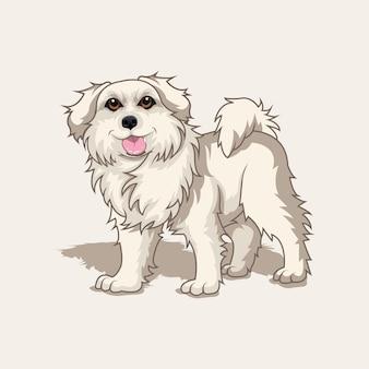 Portret van een close-up van gele hondenras beige labrador of golden retriever sit