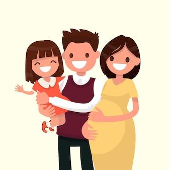 Portret van een gelukkig jong gezin. vader, dochter en zwangere moeder.