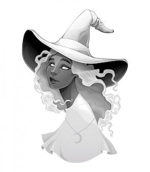 Portret van een heks in gradiënten van grijs