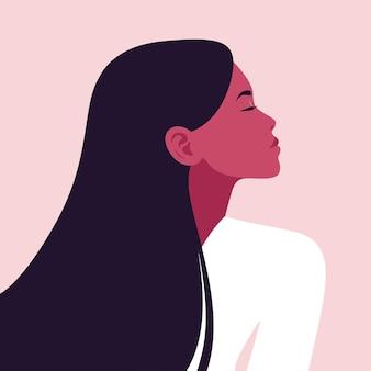 Portret van een jonge vrouw in profiel