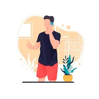 Portret van een man op zijn roeping platte ontwerp concept illustratie eps 10