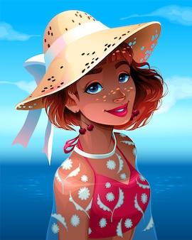 Portret van een mooi meisje met hoed