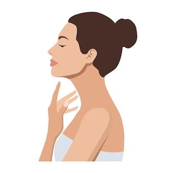 Portret van een mooie vrouw die haar nek aanraakt of een crème skincare of spa-concept toepast