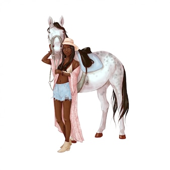 Portret van een paard en een meisje in digitale aquarelstijl