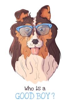 Portret van een schattige hond in glazen.
