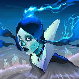 Portret van een spookmeisje op de begraafplaats