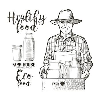 Portret van een volwassen boer met een pot en een mand vol flessen met zuivelproducten