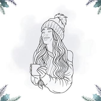 Portret van een vrouw die koffie drinkt in lijnkunststijl