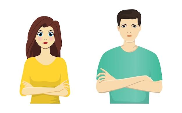Portret van geïrriteerde man en vrouw