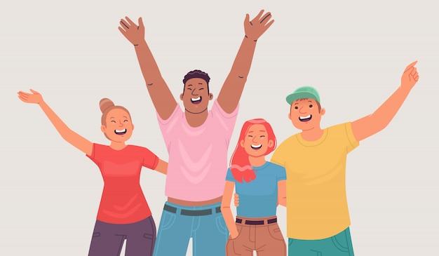 Portret van gelukkige jonge mensen. vrolijke vrienden, vriendelijk gezelschap toont vreugdevolle emoties. studenten of afgestudeerden van de school. vectorillustratie in vlakke stijl
