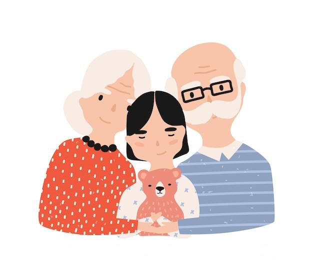 Portret van grootvader, grootmoeder en kleindochter