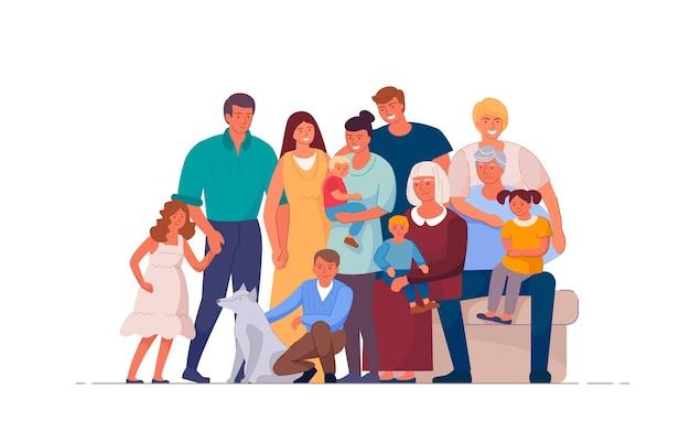 Portret van grote en gelukkige familie op wit wordt geïsoleerd