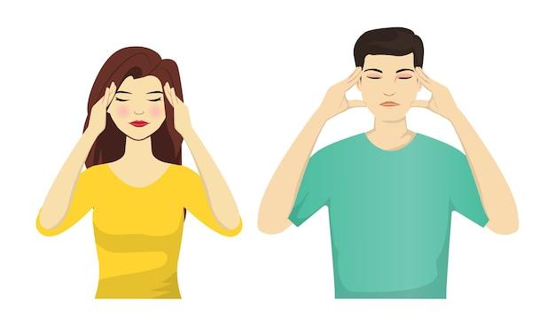 Portret van headche man en vrouw